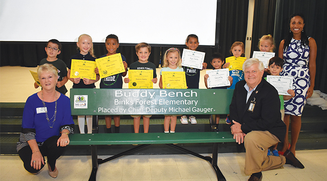 Binks Forest Elementary School Promotes Kindness By Installing A Buddy Bench  Buddy Ambassadors